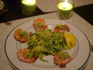 Garlic Shrimp with Zoodles and Guacamole