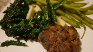 Cilantro Beef Burgers with Kale Salad